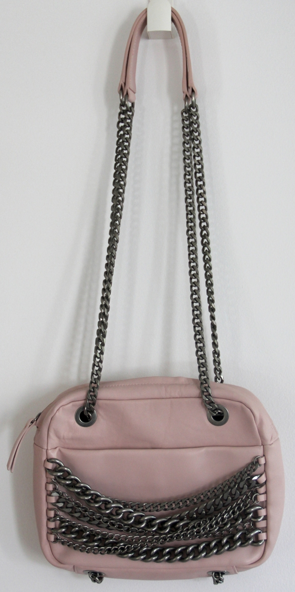 pink messanger bag with chains, zara bag